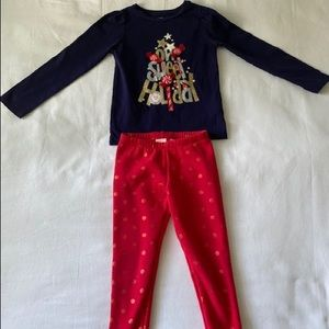 Gymboree Holiday long sleeved shirt with leggings